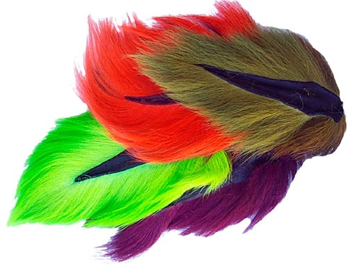 Colors 6 BUCKTAIL HAIR PIECES COMBO in Fl Hareline  fly tying streamer wing