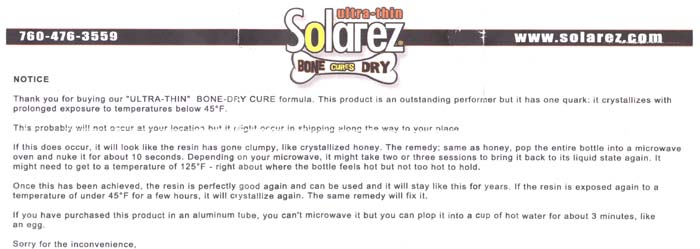 Solarez Bone Dry Ultra Thin UV Clear Coat