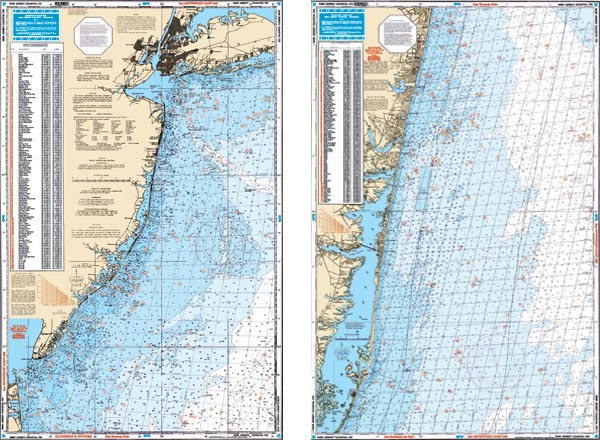 Waterproof coastal ne fishing chart new jersey coastal for Fishing stores nj